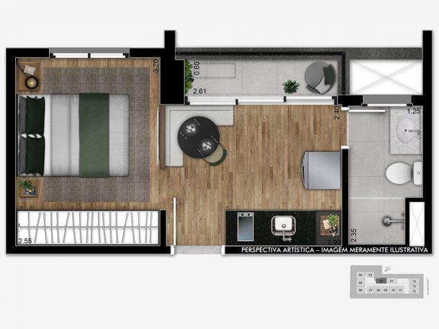 Studio - 24m²