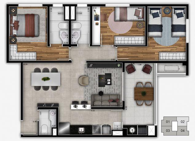 Planta 3 dormitórios - 84,75m²