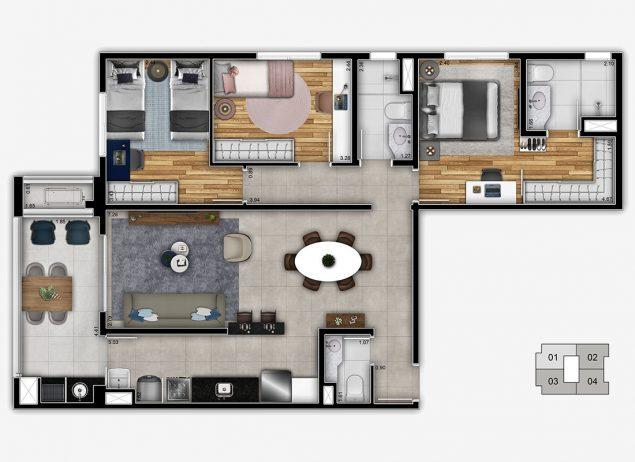 Planta 3 Dormitórios - 92,87m²