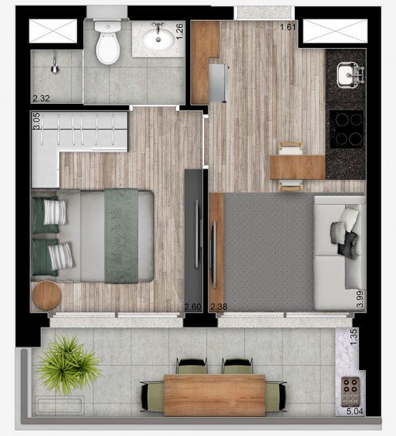 1 DORMITÓRIO RESIDENCIAL - 34m²; pé-direito 3,70m²