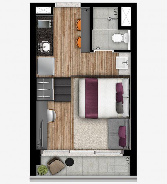 STUDIO RESIDENCIAL - 24m²; pé-direito 3,70m²