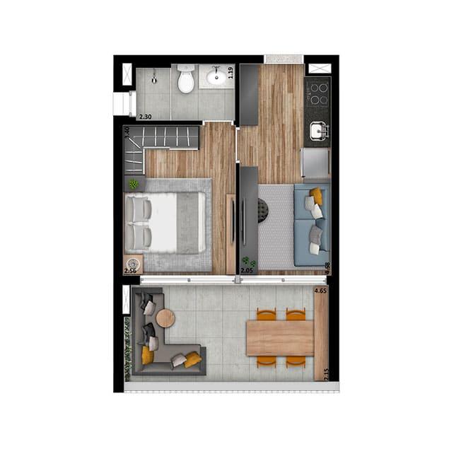 1 Dorm. - 38 m²