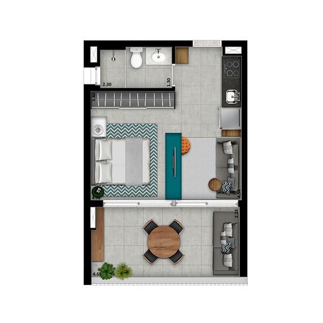 1 Dorm. Ampliada - 38 m²