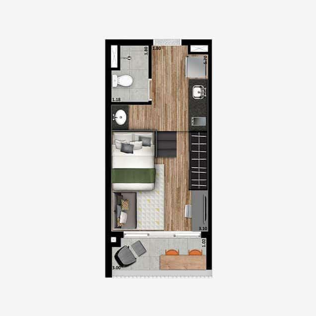 Studio + - 25 m²