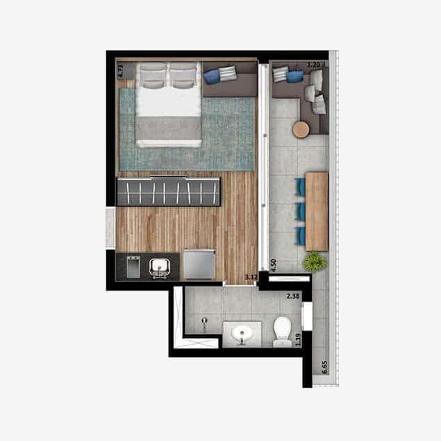 Studio - 30 m²