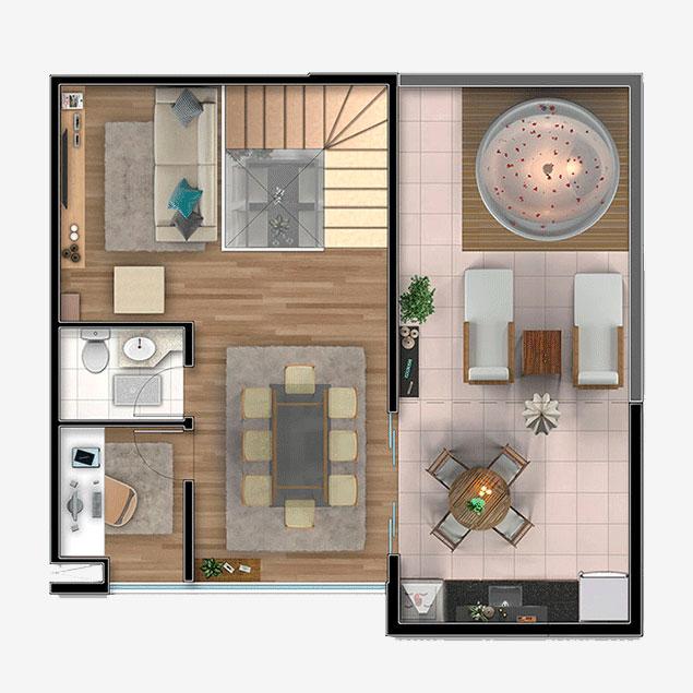 2 dorms. Duplex, Pavimento Superior - 127,70m²