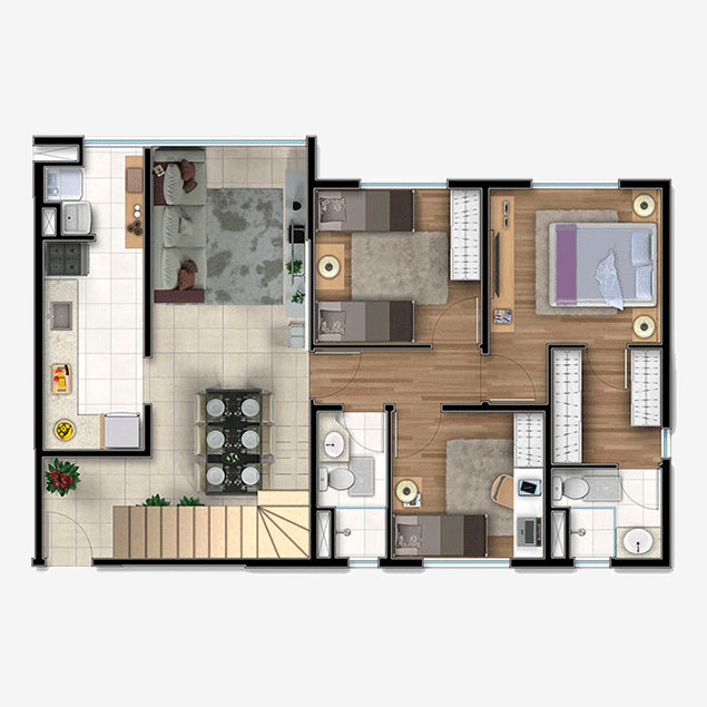 3 dorms. Duplex, Pavimento Inferior - 157,30m²