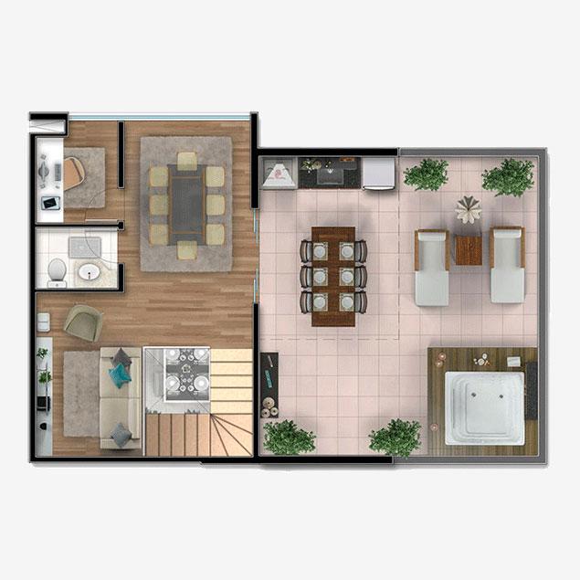 3 dorms. Duplex, Pavimento Superior - 157,30m²