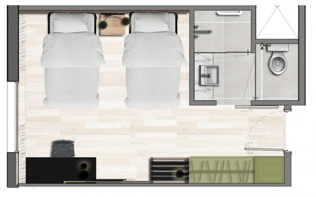 Apartamento Standard Twin- 22,5m²