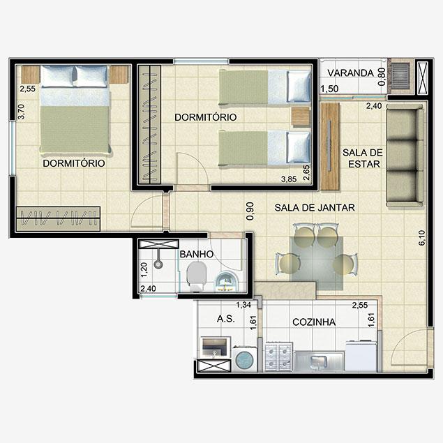 Apartamento 2 Dorms. - 55,61m²