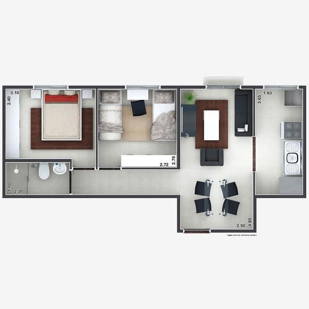 2 dorms. - 43,67m²