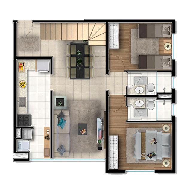 2 dorms. Duplex, Pavimento Inferior - 127,70m²