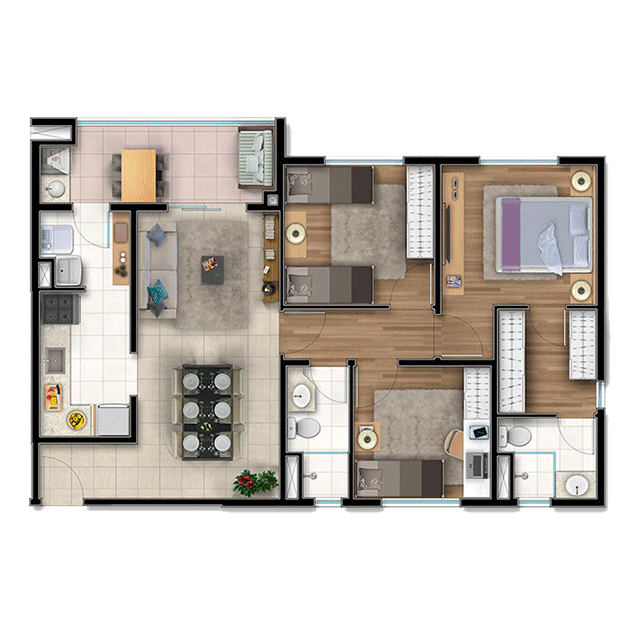 3 dorms. - 78,65m²