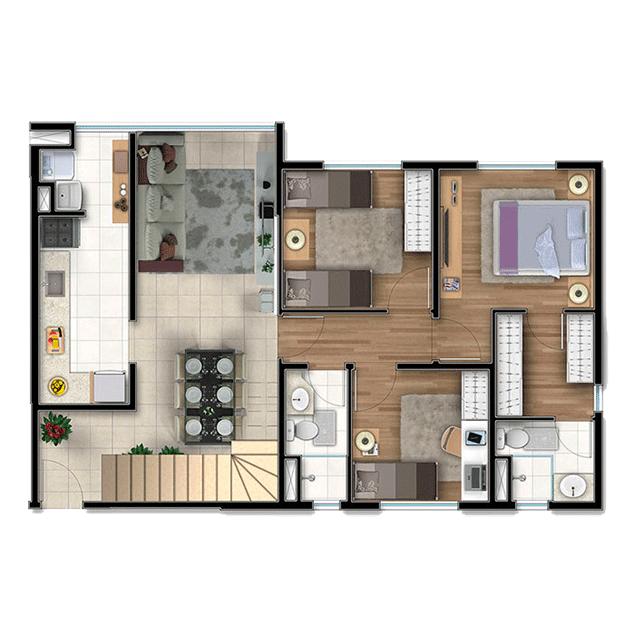 3 dorms. Duplex, Pavimento Inferior - 157,30m²