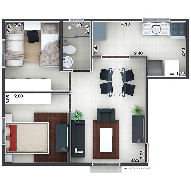 2 Dorms. - 46,16m²