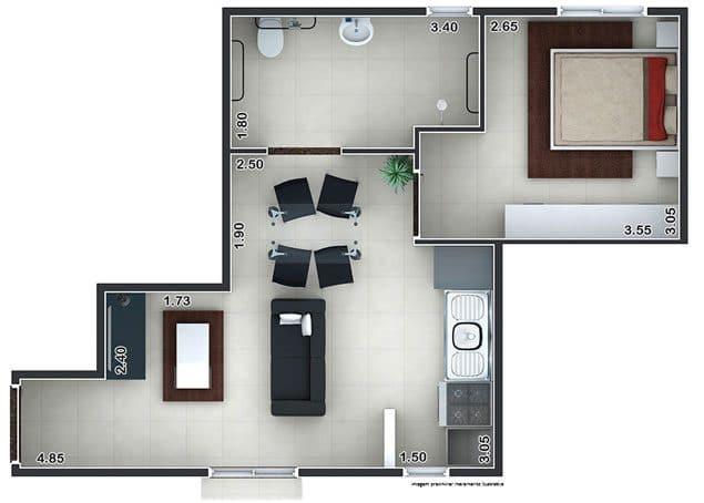 1 Dorm - 39,12m²