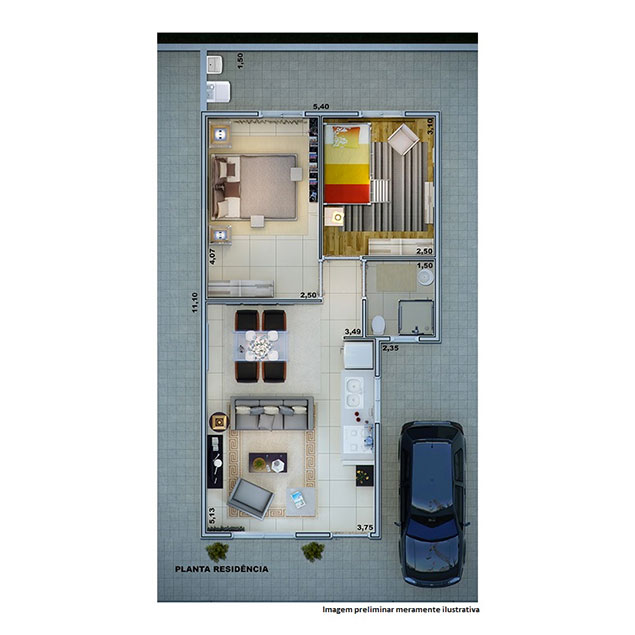 2 Dorms - 47,80 m²